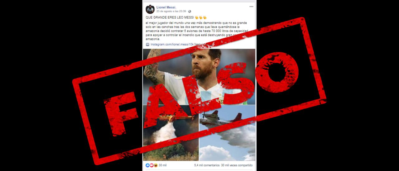 Es falso que Messi contrató aviones hidrantes para combatir los incendios en el Amazonas
