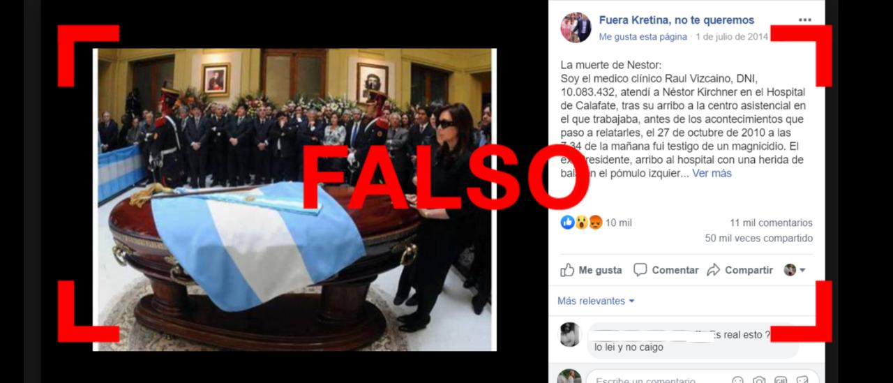 Una desinformación que vuelve: es falso que Kirchner murió por un disparo