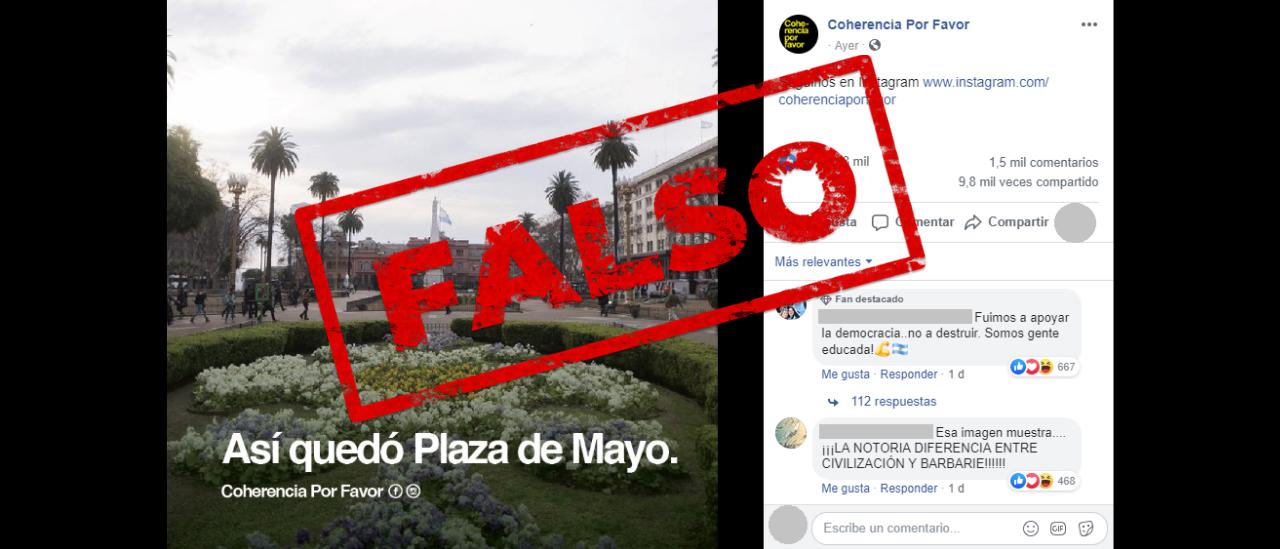 No, esta foto de la Plaza de Mayo no es del #24A, sino de 2017