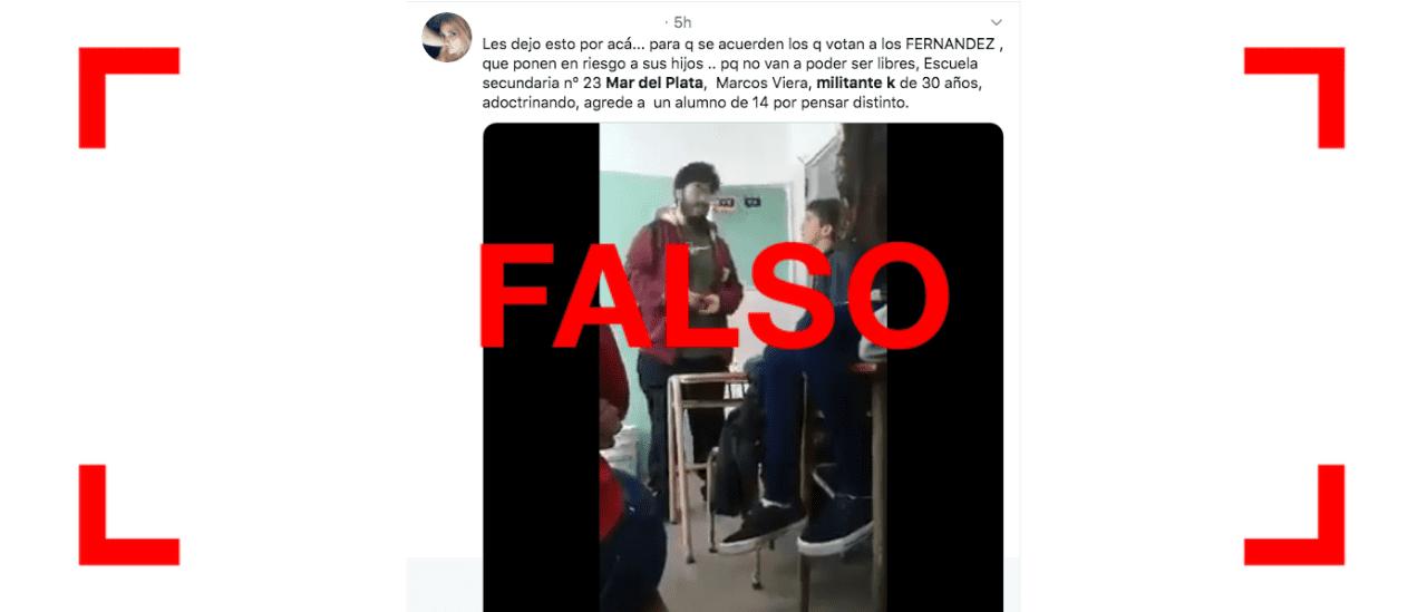 No es actual el video donde un joven golpea a otro por una discusión política en Mar del Plata