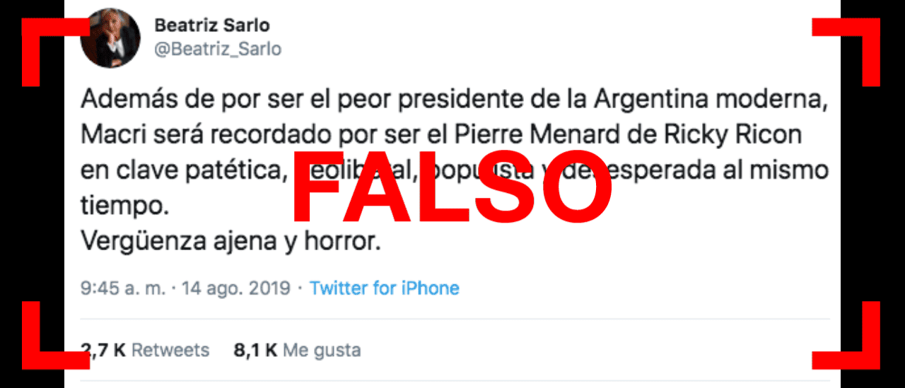 """Es falso que Sarlo dijo en Twitter que Macri es el """"peor presidente de la Argentina moderna"""""""