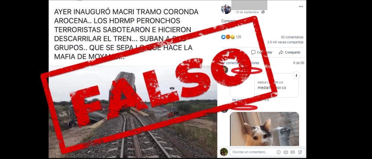 Una desinformación que vuelve: es falso que el tren Belgrano Cargas descarriló debido a un sabotaje de los Moyano
