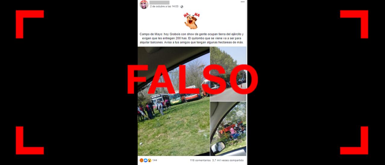 Es falso que Grabois protestó en Campo de Mayo para pedir por la expropiación de tierras