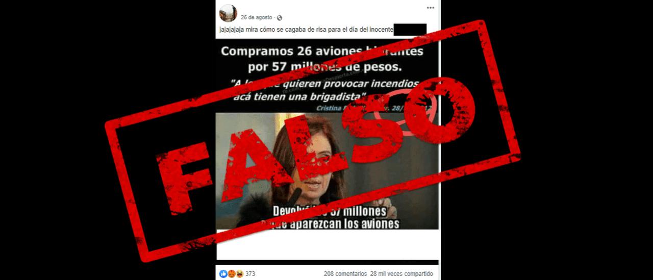 Es falso que se compraron 26 aviones hidrantes durante el gobierno de Cristina Fernández de Kirchner
