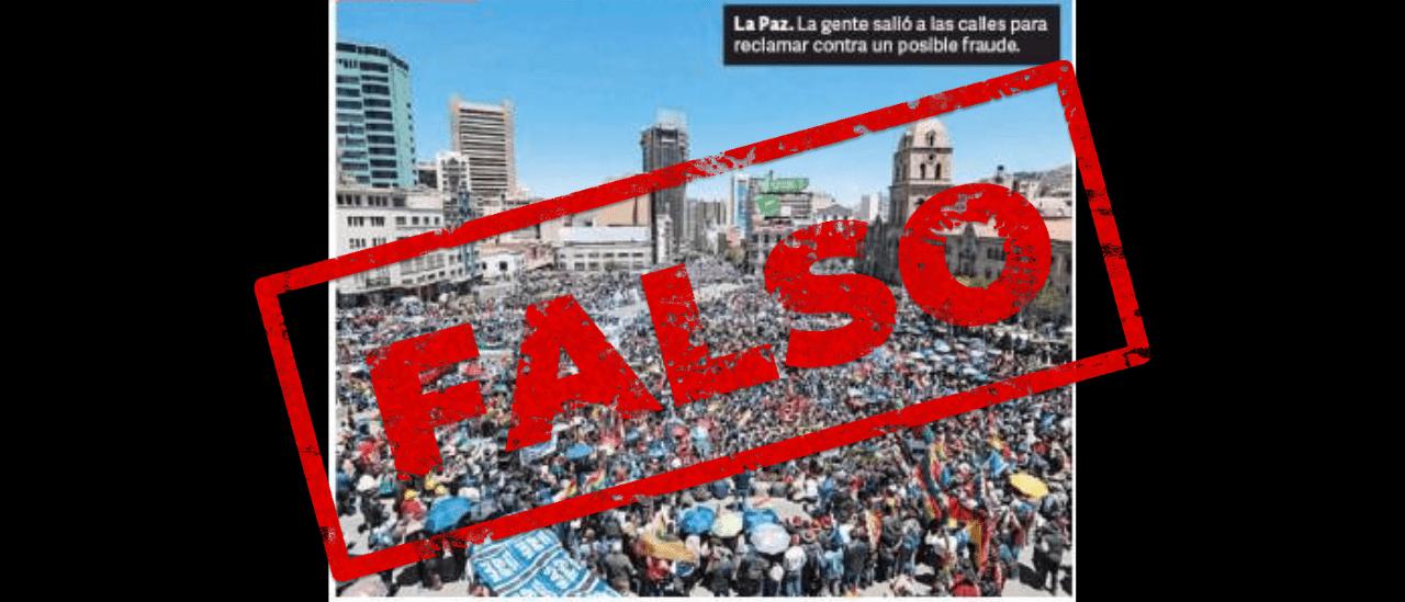 """La foto sobre la manifestación en Bolivia de la tapa de Clarín era a favor de Evo Morales, no en contra de """"un posible fraude"""", como dijo el diario"""