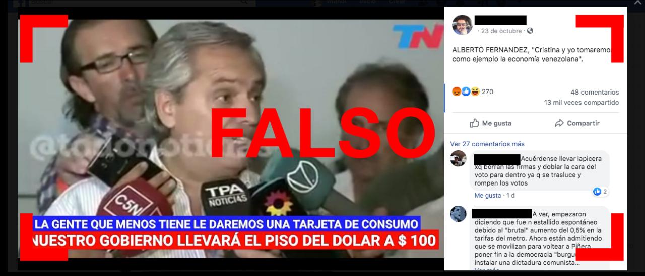"""Es falso que Alberto Fernández haya dicho: """"Nuestro gobierno llevará el dólar a un piso de 100"""""""