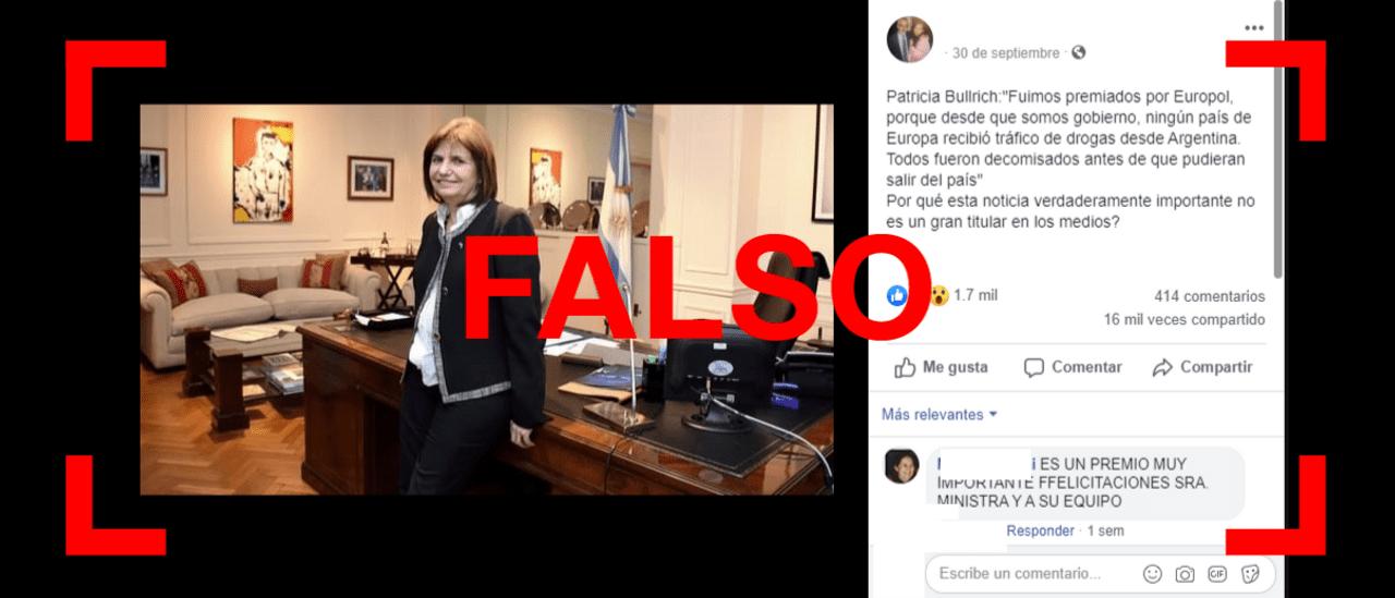 Es falso que Bullrich dijo que la Argentina fue premiada por Europol y también que desde 2015 no llegó droga desde el país a Europa