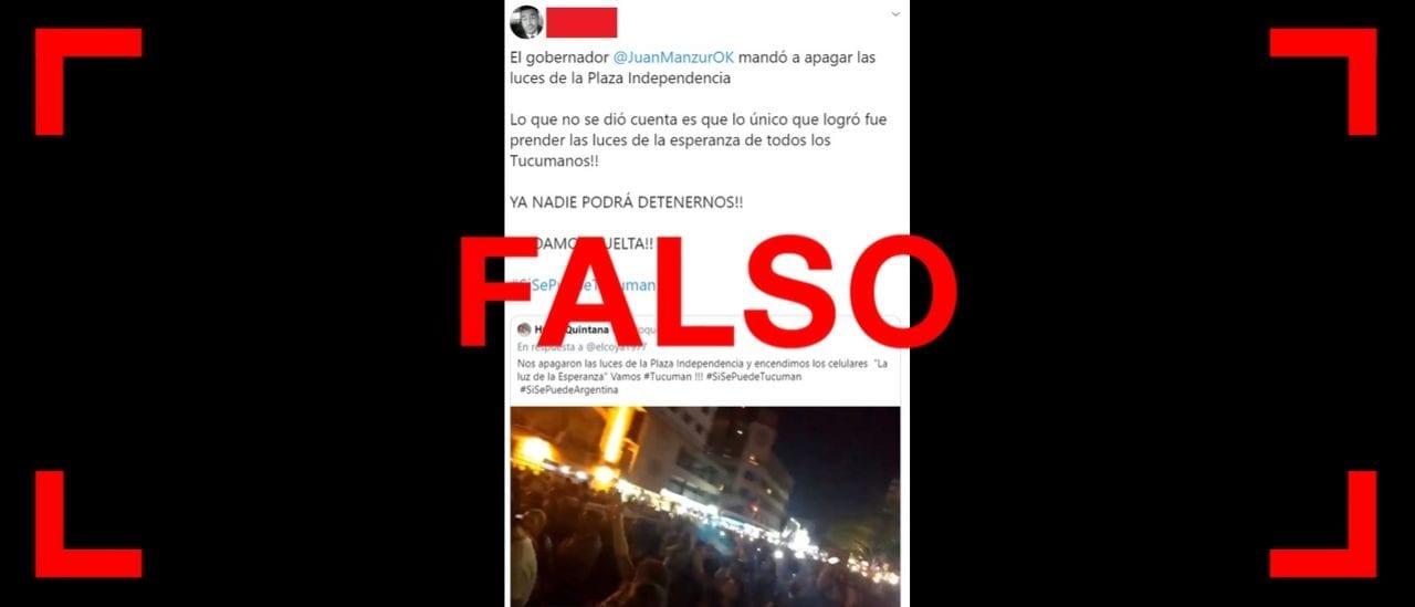 Es falso que Manzur haya ordenado cortar la luz durante un acto de Macri en Tucumán