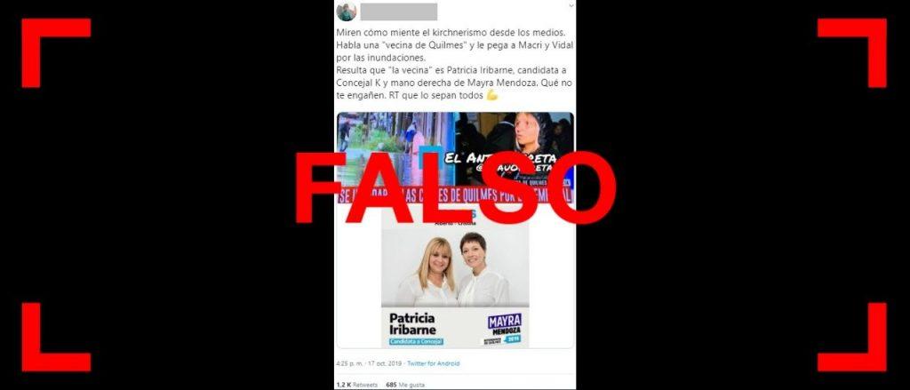 Es falso que en TV una candidata a concejal del Frente de Todos se hizo pasar por una vecina, en medio de las inundaciones en Quilmes
