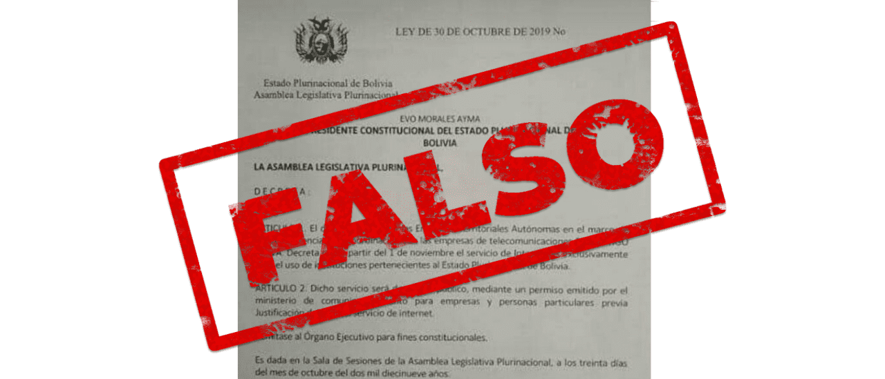 """Es falso que en Bolivia se promulgó una ley que limita """"la libertad de acceso a Internet"""""""