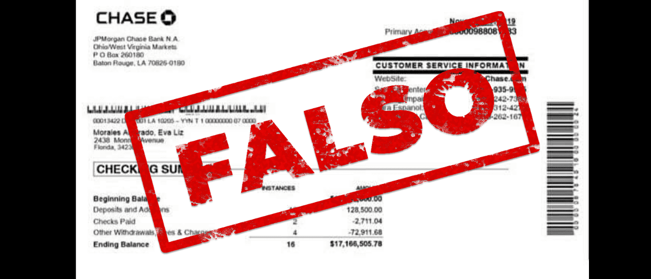 Es falsa la imagen que muestra que la hija de Evo Morales tiene una cuenta bancaria con US$ 17 millones