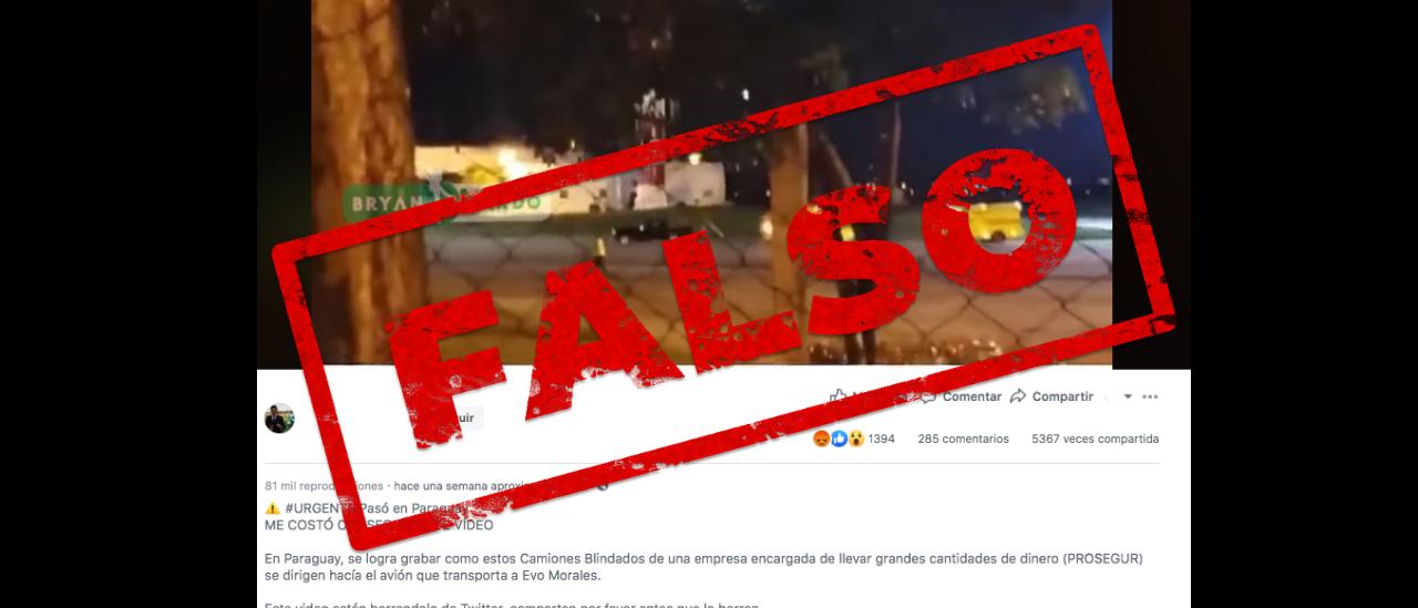 Es falso que camiones de Prosegur cargaron dinero en Paraguay en el avión que trasladaba a Evo Morales
