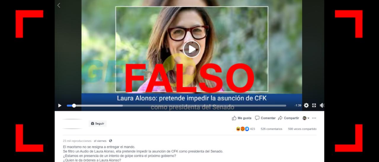 Es falso que en un audio Laura Alonso dijo que va a presentar un pedido de juicio político contra CFK