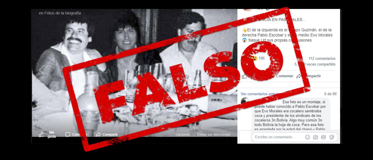 """Es falsa la foto de Evo Morales con Pablo Escobar y """"El Chapo"""" Guzmán"""