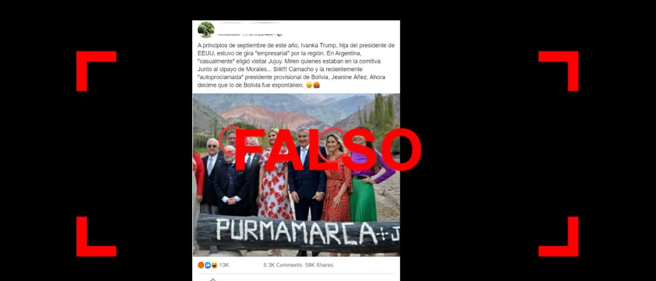 Son falsos los posteos que afirman que Camacho y la presidenta interina de Bolivia posaron junto al gobernador de Jujuy en una foto