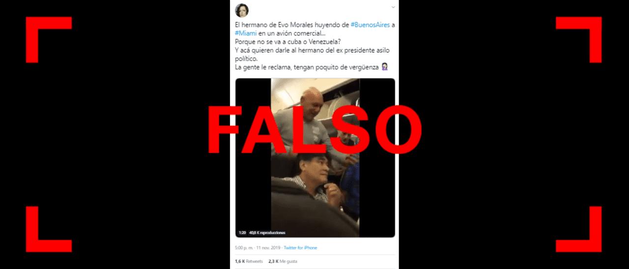 Es falso que el hermano de Evo Morales haya sido escrachado en un vuelo de Buenos Aires a Miami