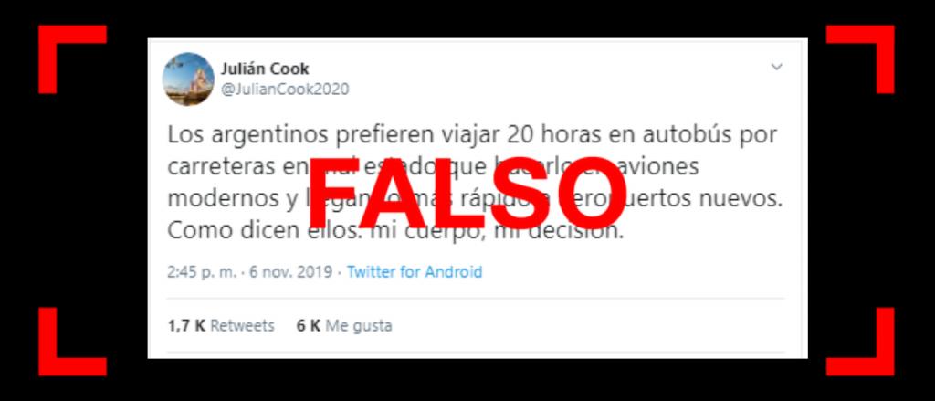 """Es falso que el fundador de Flybondi tuiteó que """"los argentinos prefieren viajar 20 horas en autobús"""" en vez de hacerlo """"en aviones modernos"""""""