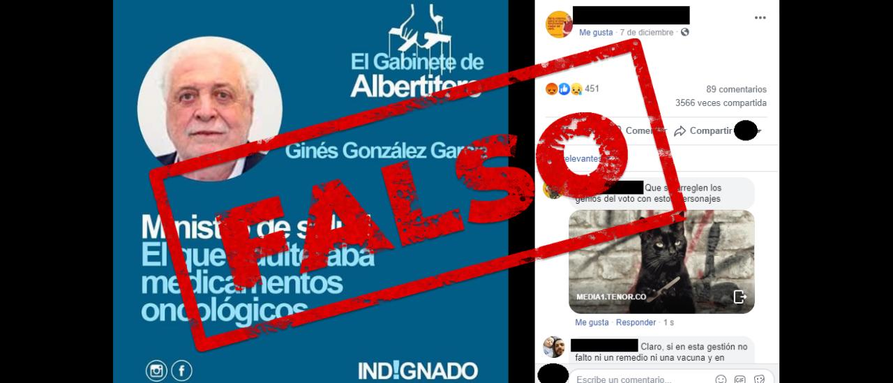 Es falso que Ginés González García estuvo involucrado en la causa de medicamentos falsos