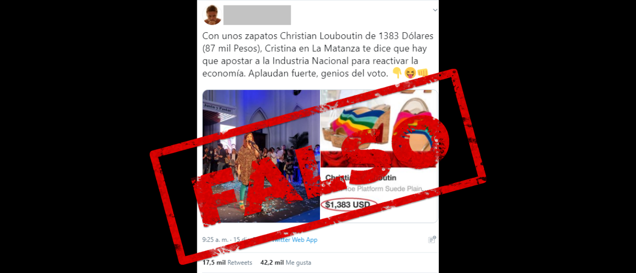Es falso que Cristina Fernández de Kirchner usó zapatos importados en un acto en La Matanza