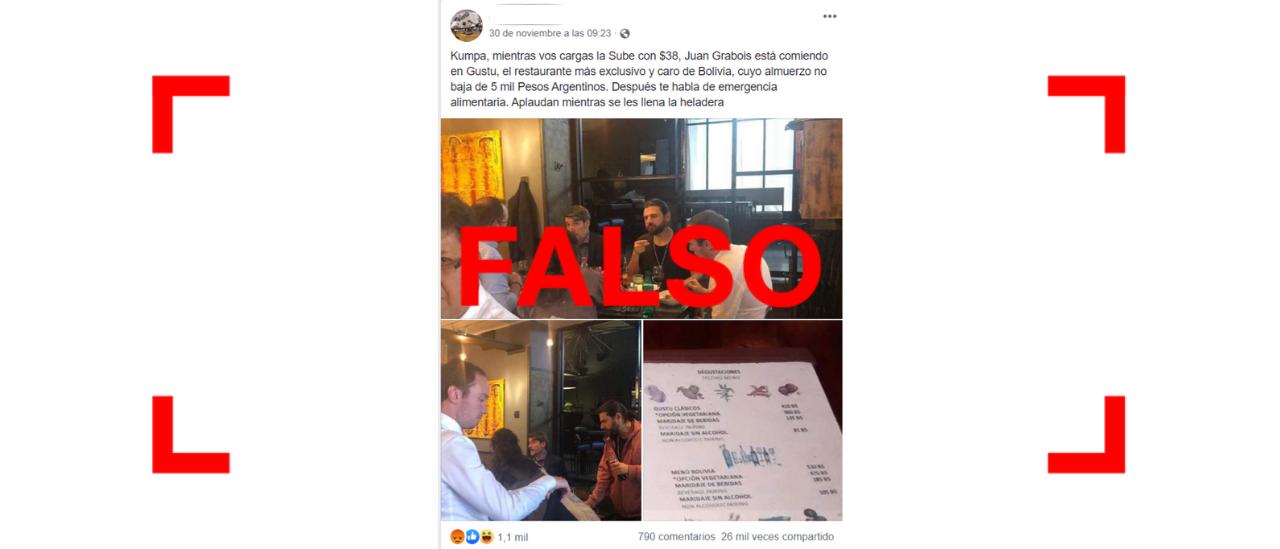 No, en esta foto no se ve a Grabois en uno de los restaurantes más lujosos de Bolivia