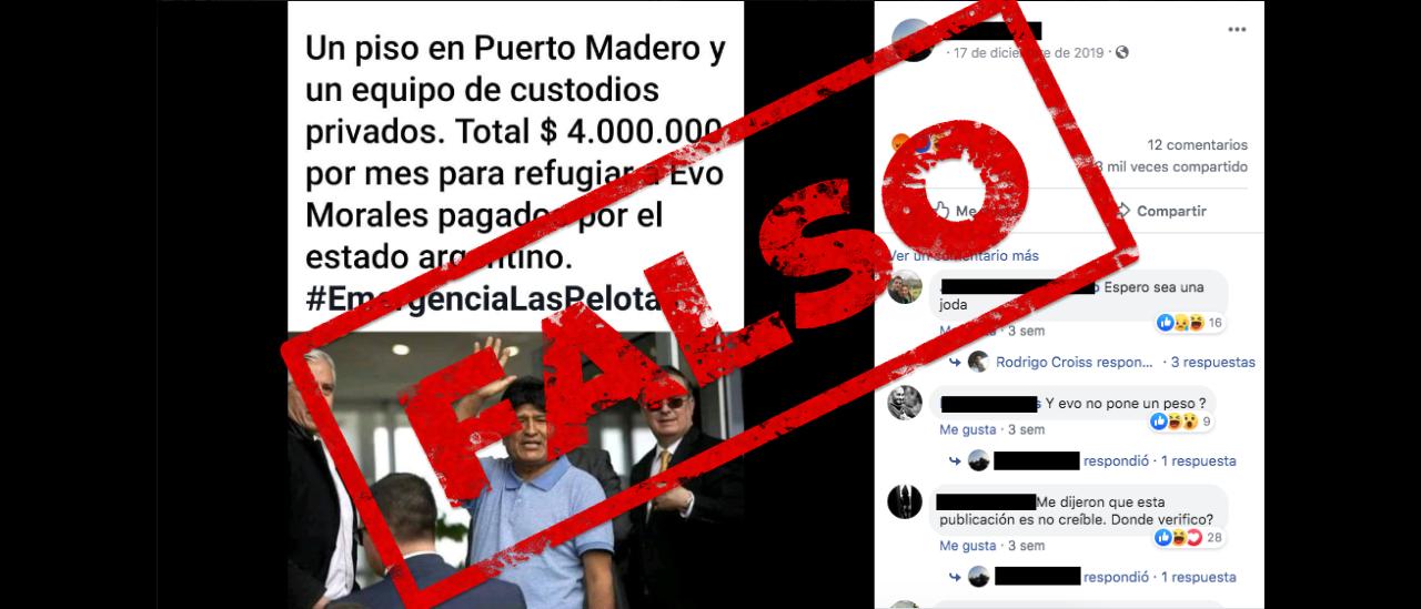 Es falso que el Estado gasta $ 4 millones en un departamento en Puerto Madero y seguridad privada para Evo Morales