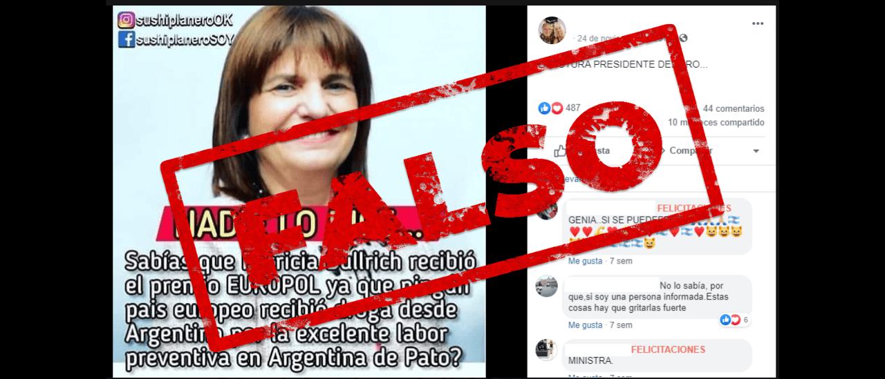 Es falso que Bullrich recibió el premio Europol porque durante su gestión ningún cargamento de droga llegó a Europa desde la Argentina