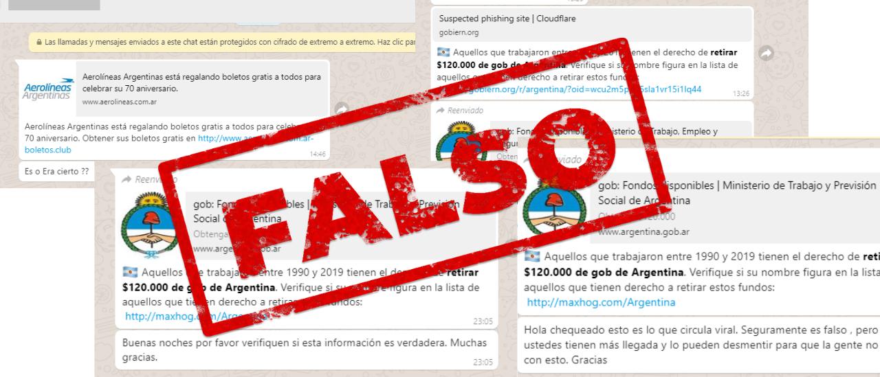 Son falsas las promociones que regalan boletos gratis de Aerolíneas y las que invitan a retirar $ 120 mil del gobierno de Argentina