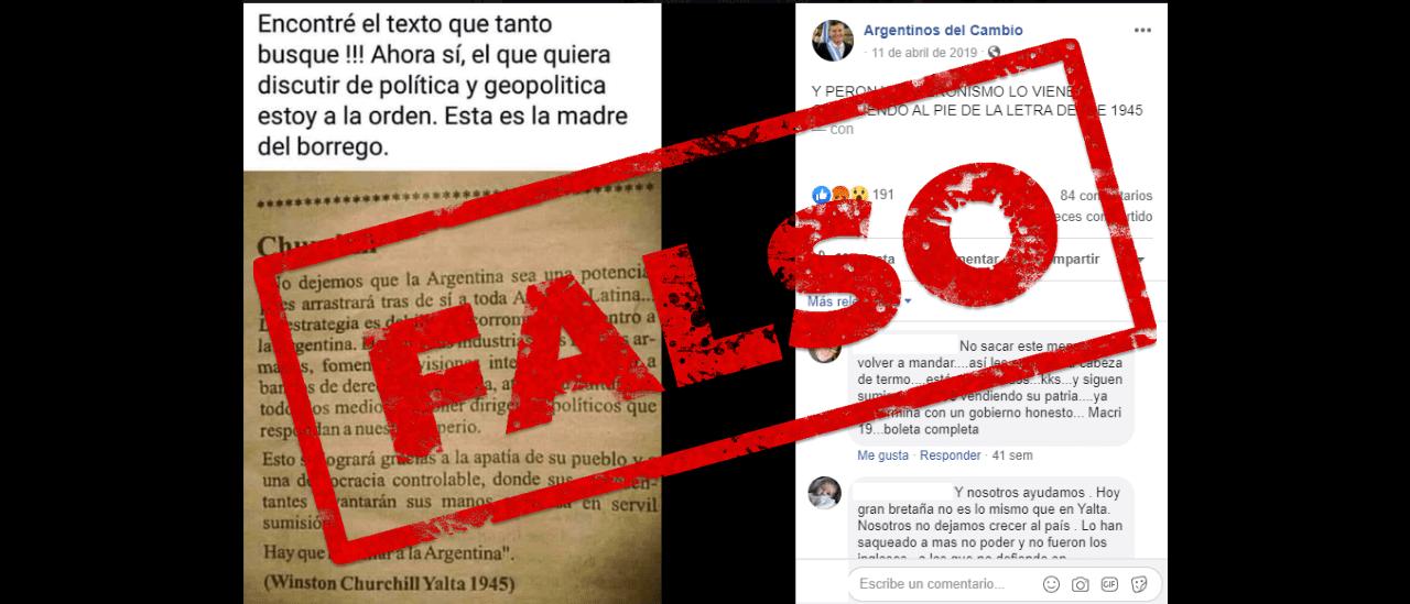 """Es falso que Churchill pidió que la Argentina no se convierta en potencia porque arrastraría """"tras de sí a toda América Latina"""""""