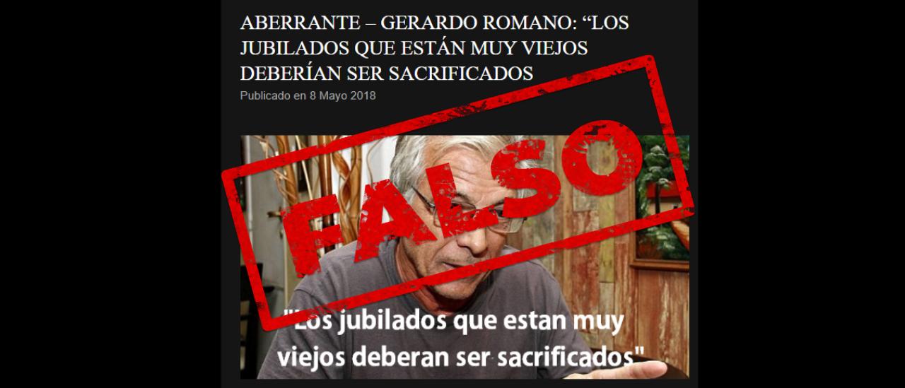 """No, Gerardo Romano no dijo: """"Los jubilados que están muy viejos deberían ser sacrificados"""""""