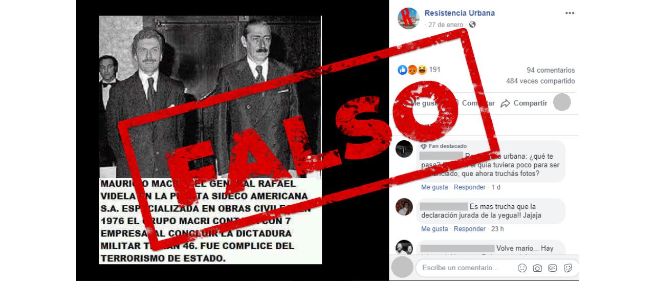 Es falsa la foto en la que se observa a Macri con Videla
