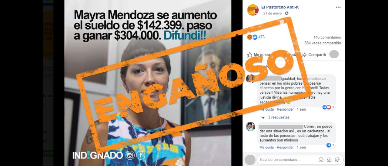 Mayra Mendoza tiene un sueldo de casi $ 305 mil pero no se lo aumentó un 113%