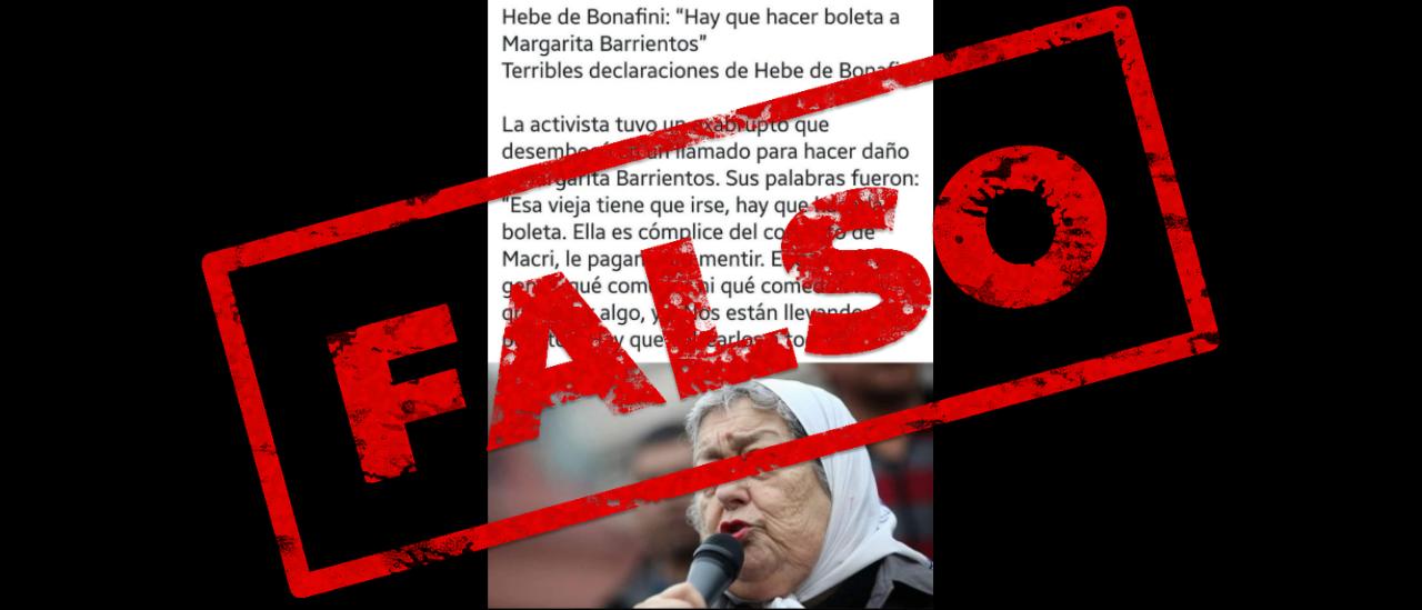 """Es falso que Hebe de Bonafini dijo: """"Hay que hacer boleta a Margarita Barrientos"""""""