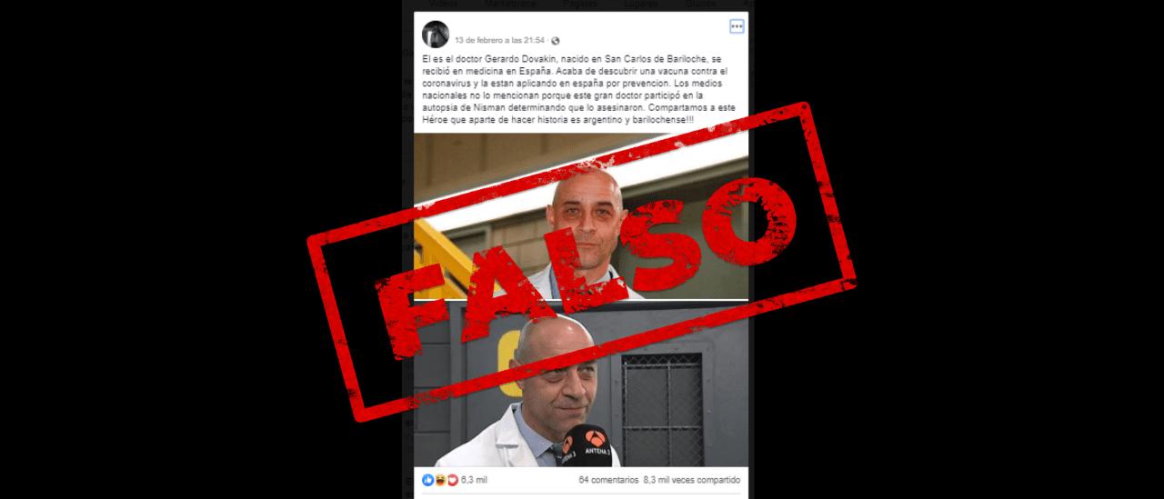 Es falso que un médico argentino descubrió y está aplicando una vacuna contra el Coronavirus en España