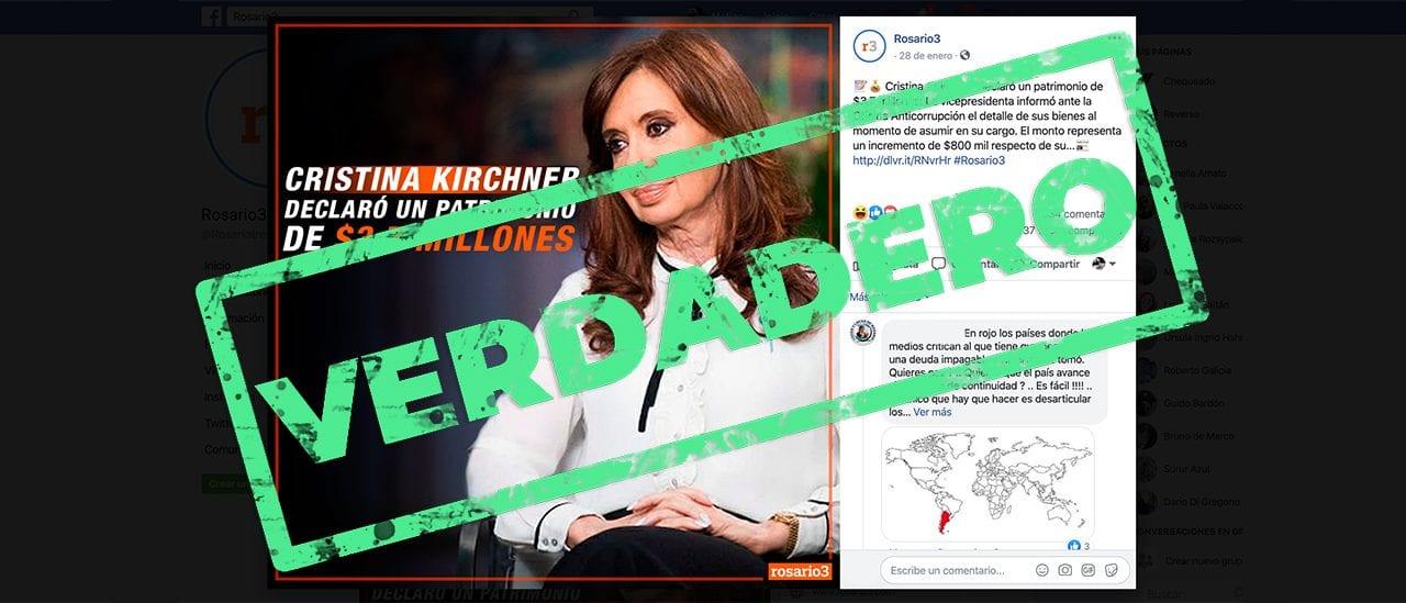 Es verdadero que Cristina Kirchner declaró un patrimonio de $3,7 millones