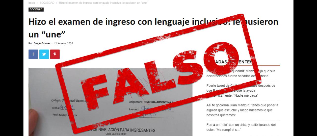 """Es falso el examen del Colegio Nacional de Buenos Aires aplazado con un """"une"""""""