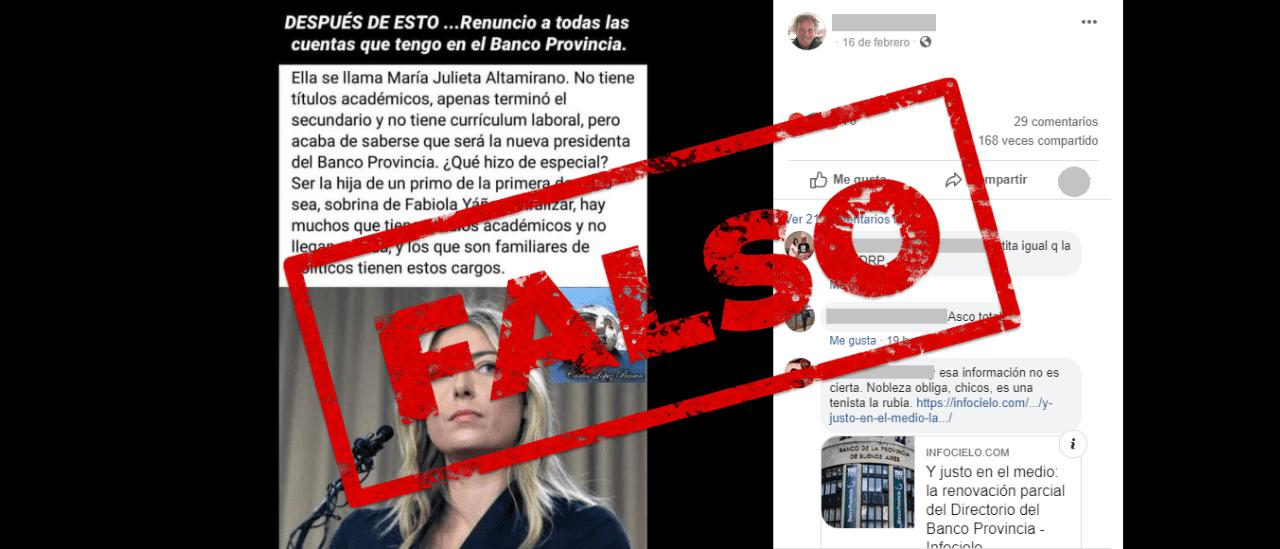 No, una sobrina de Fabiola Yáñez no fue designada presidente del Banco Provincia