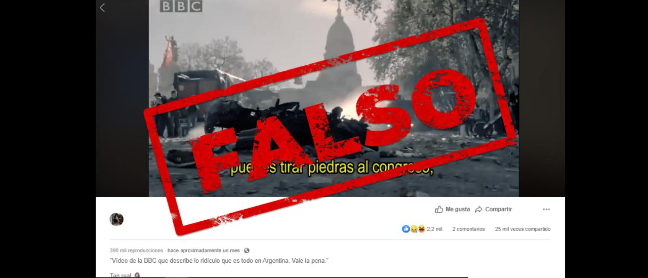 """Este video que """"describe lo ridículo que es todo en Argentina"""" es falso; no es de la BBC"""