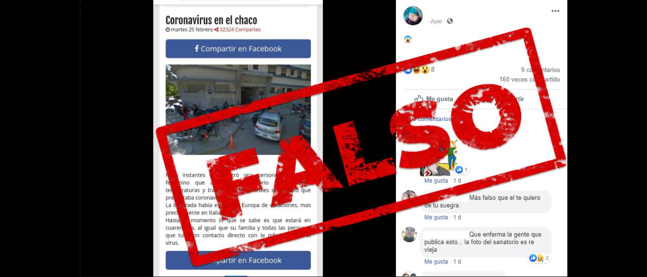 Es falso que se confirmó un caso de Coronavirus en Chaco