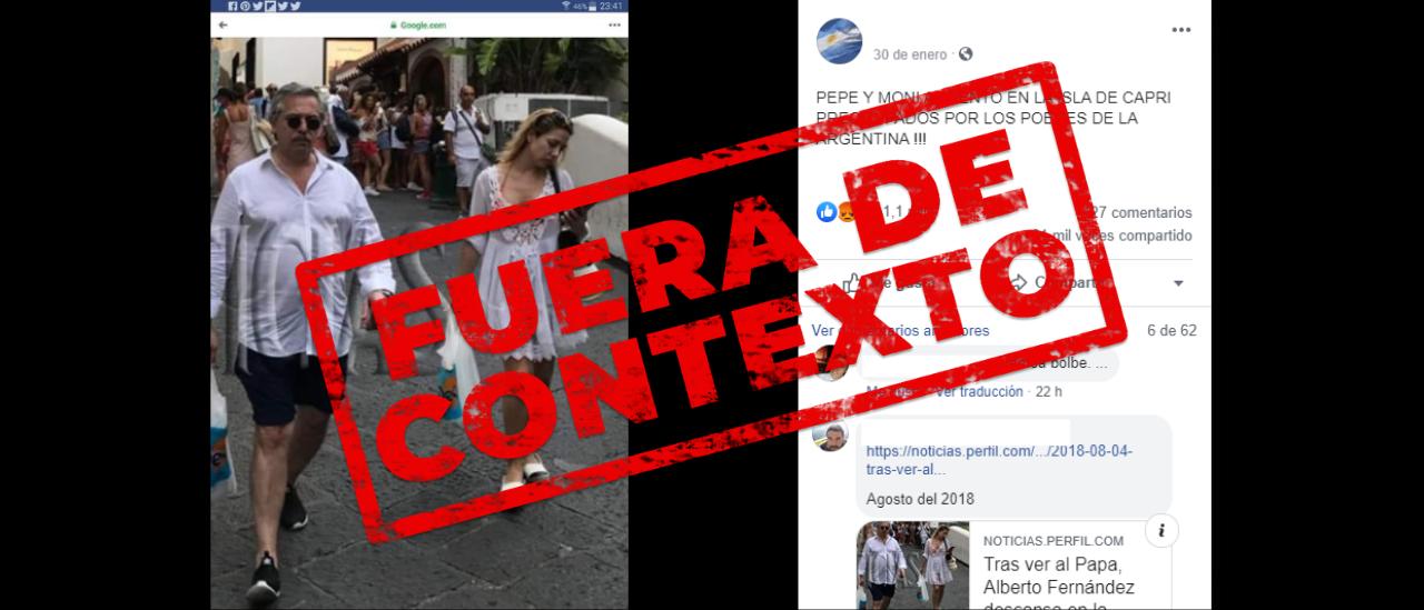 Es falso que Fernández y Yáñez estuvieron en Capri durante la gira oficial actual