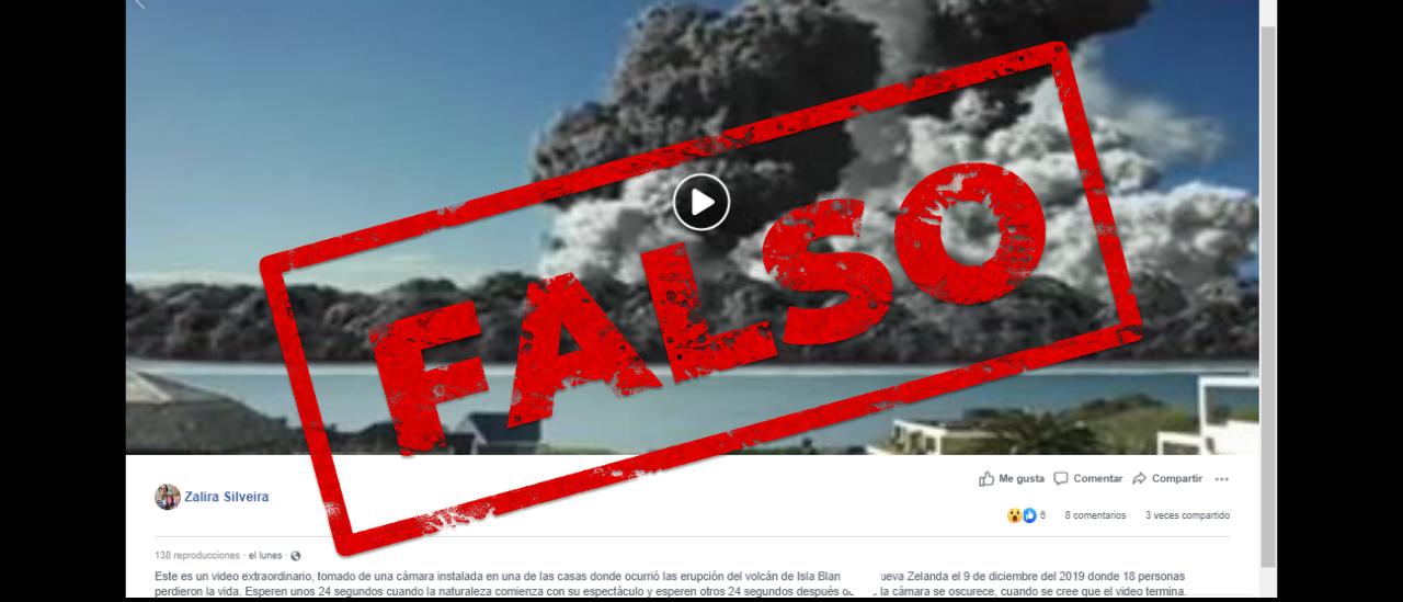 Es falso el video que muestra una erupción de un volcán en Nueva Zelanda