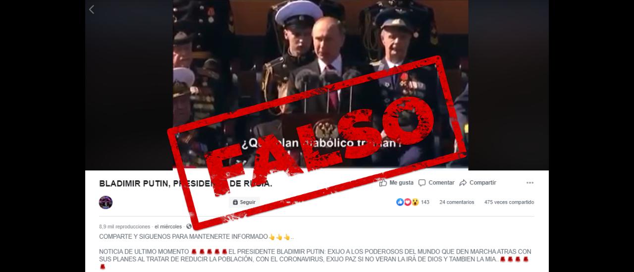 """Es falso el video en el que Putin dice: """"Poderosos del mundo, estoy al tanto de sus diabólicos planes para reducir la población"""""""
