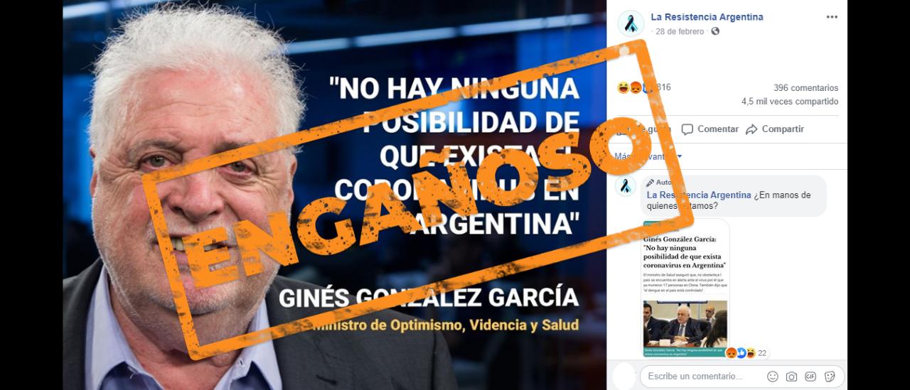 Es engañoso que Ginés González García dijo que no había posibilidad de que exista el coronavirus en la Argentina