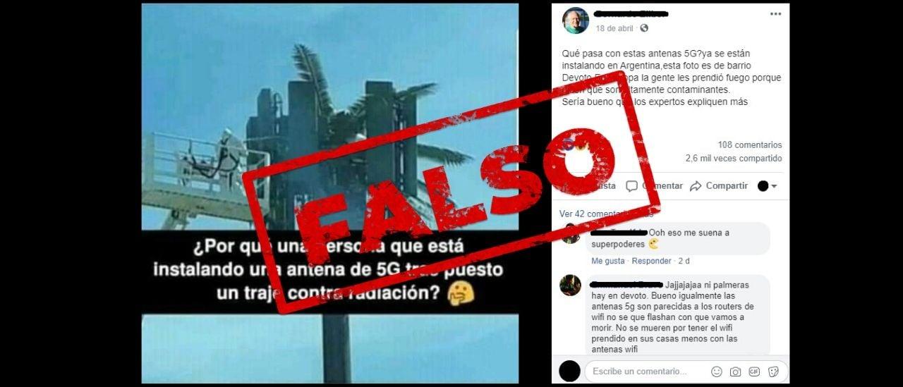 No, esta imagen de una supuesta antena de 5G no es de la Argentina