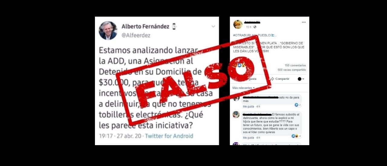 No, Alberto Fernández no propuso la creación de una asignación para detenidos en su domicilio