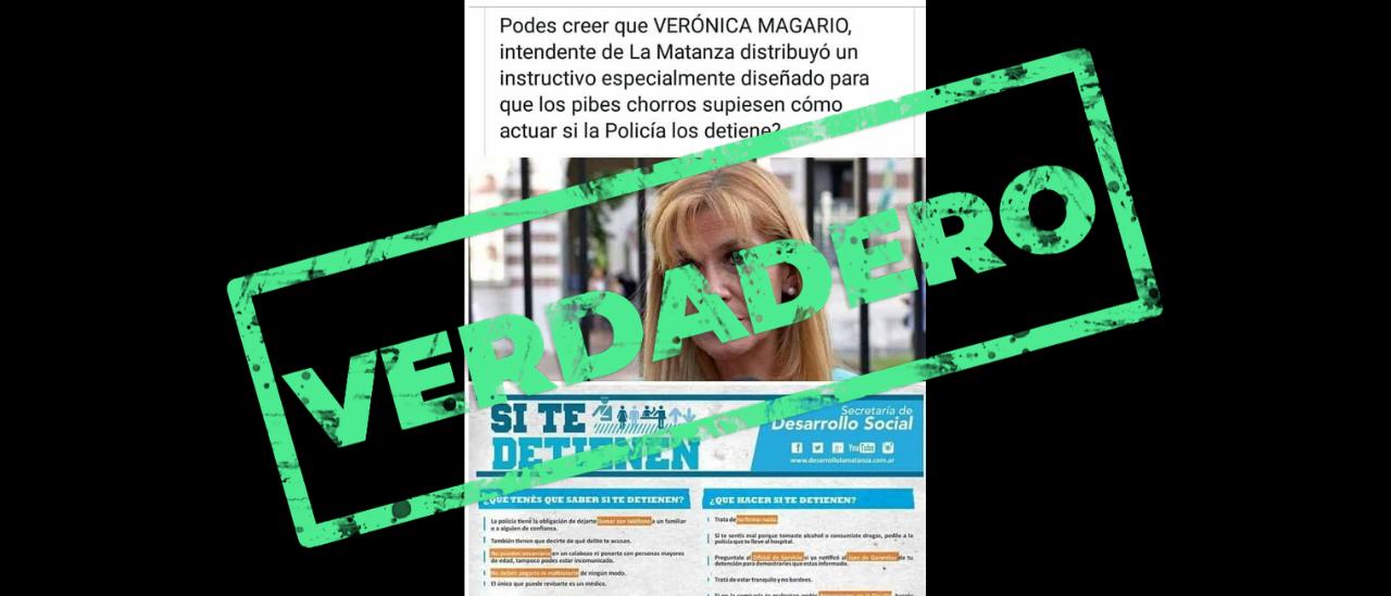 Magario distribuyó folletos para jóvenes detenidos pero lo hizo hasta 2017