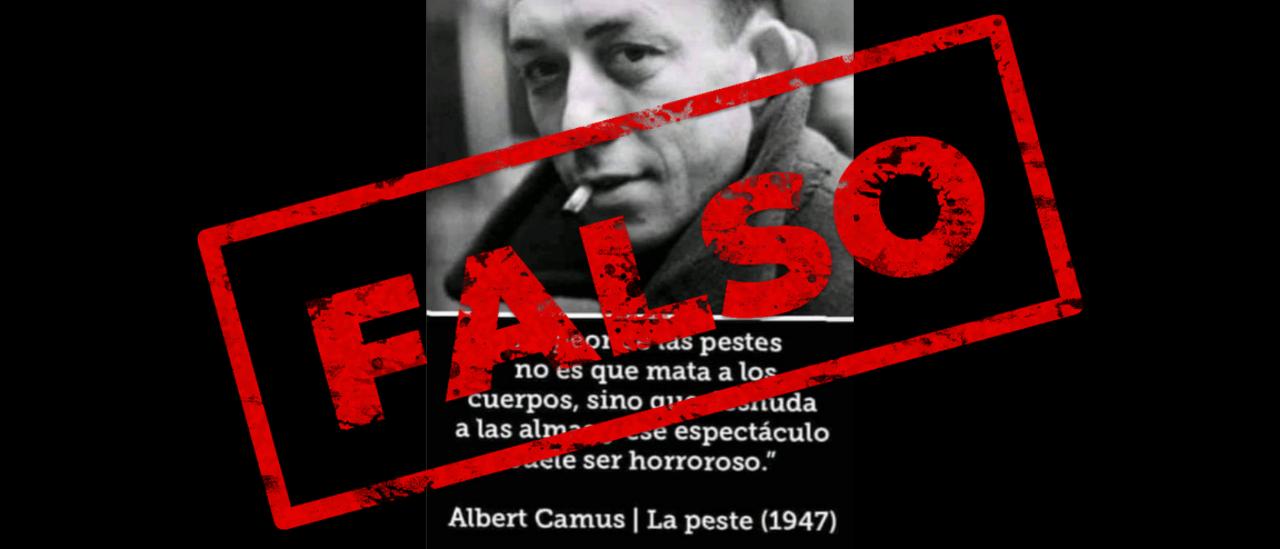 No, la frase que circula no es parte de la novela La peste de Albert Camus ni fue escrita por él