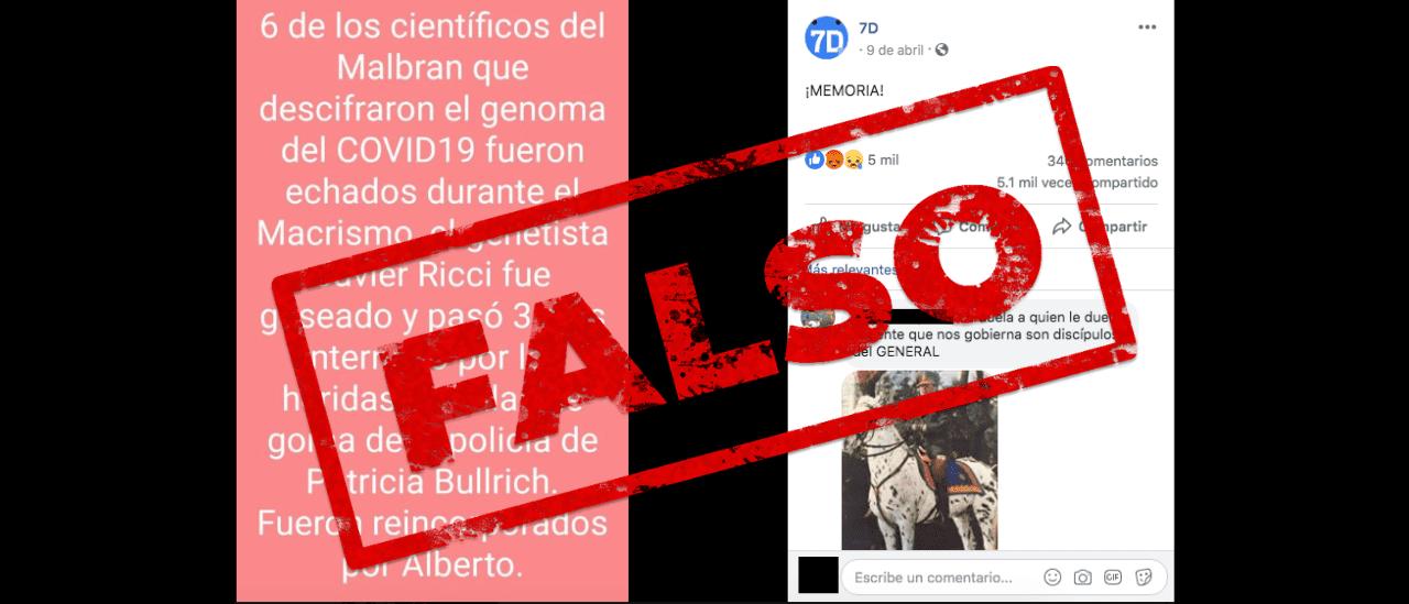 Es falso que científicos que descubrieron el genoma del coronavirus fueron echados del Malbrán durante el macrismo
