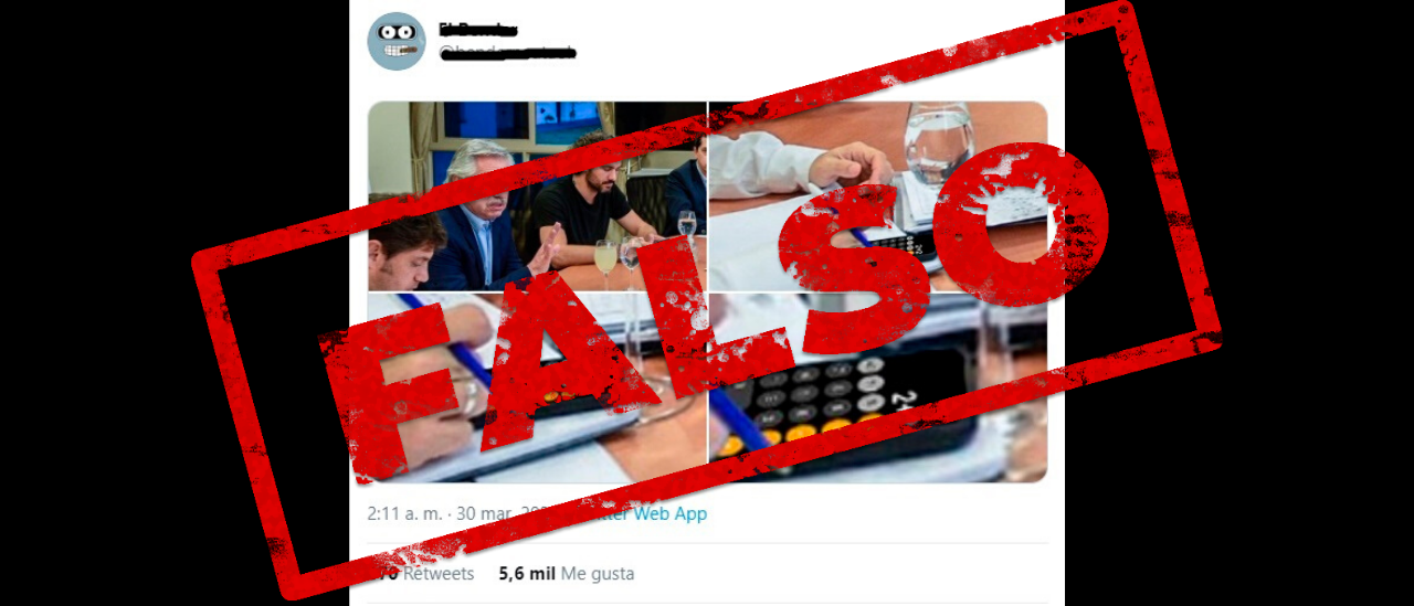 Es falsa la imagen de Kicillof usando una calculadora para sumar 2+2 en una reunión con Alberto Fernández