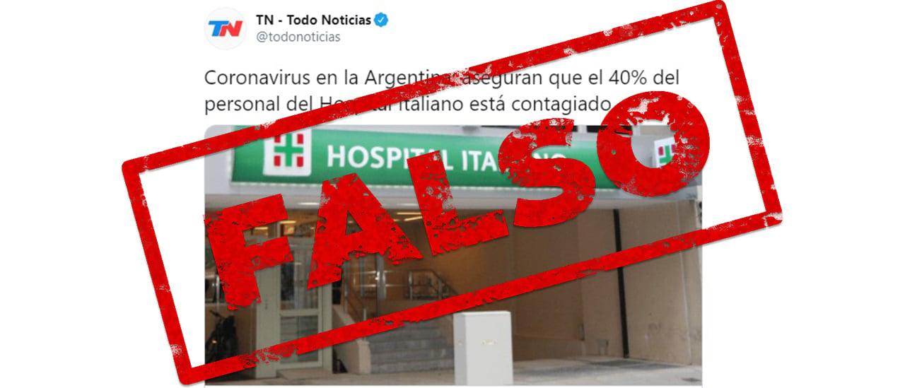 Es falso que el 40% del personal del Hospital Italiano esté contagiado de coronavirus