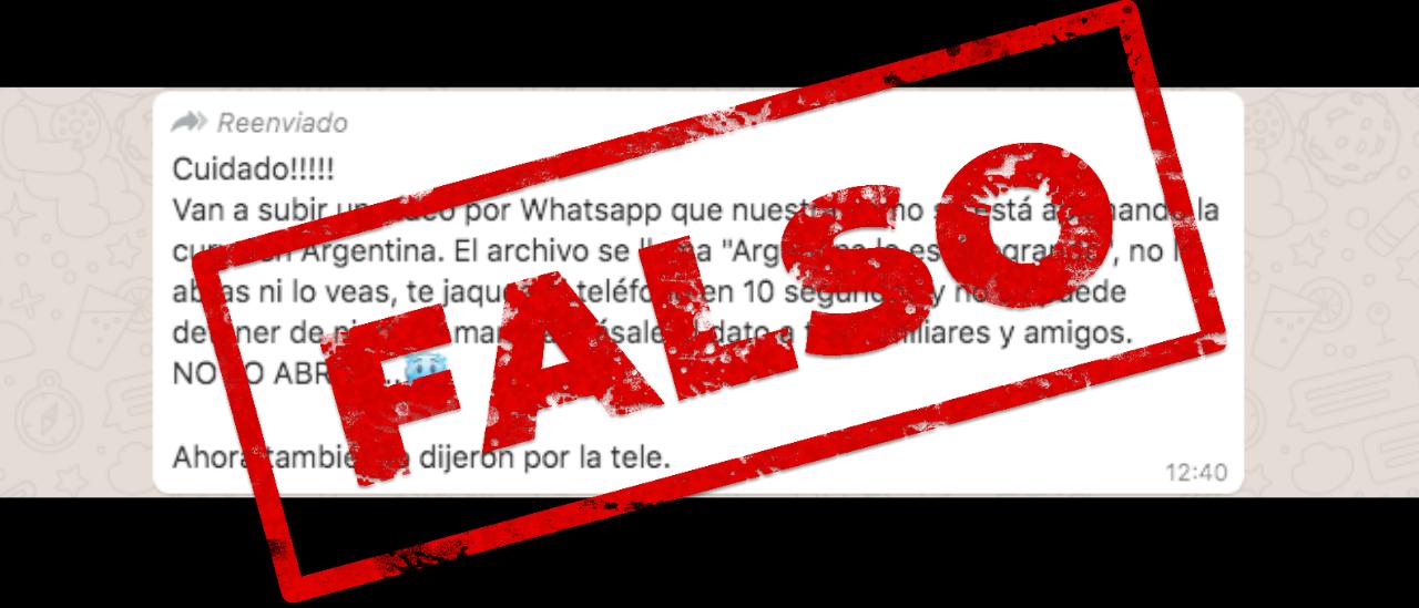 """Es falso que circule en WhatsApp un video sobre el coronavirus que, al abrirlo, hackea el celular """"en 10 segundos"""""""